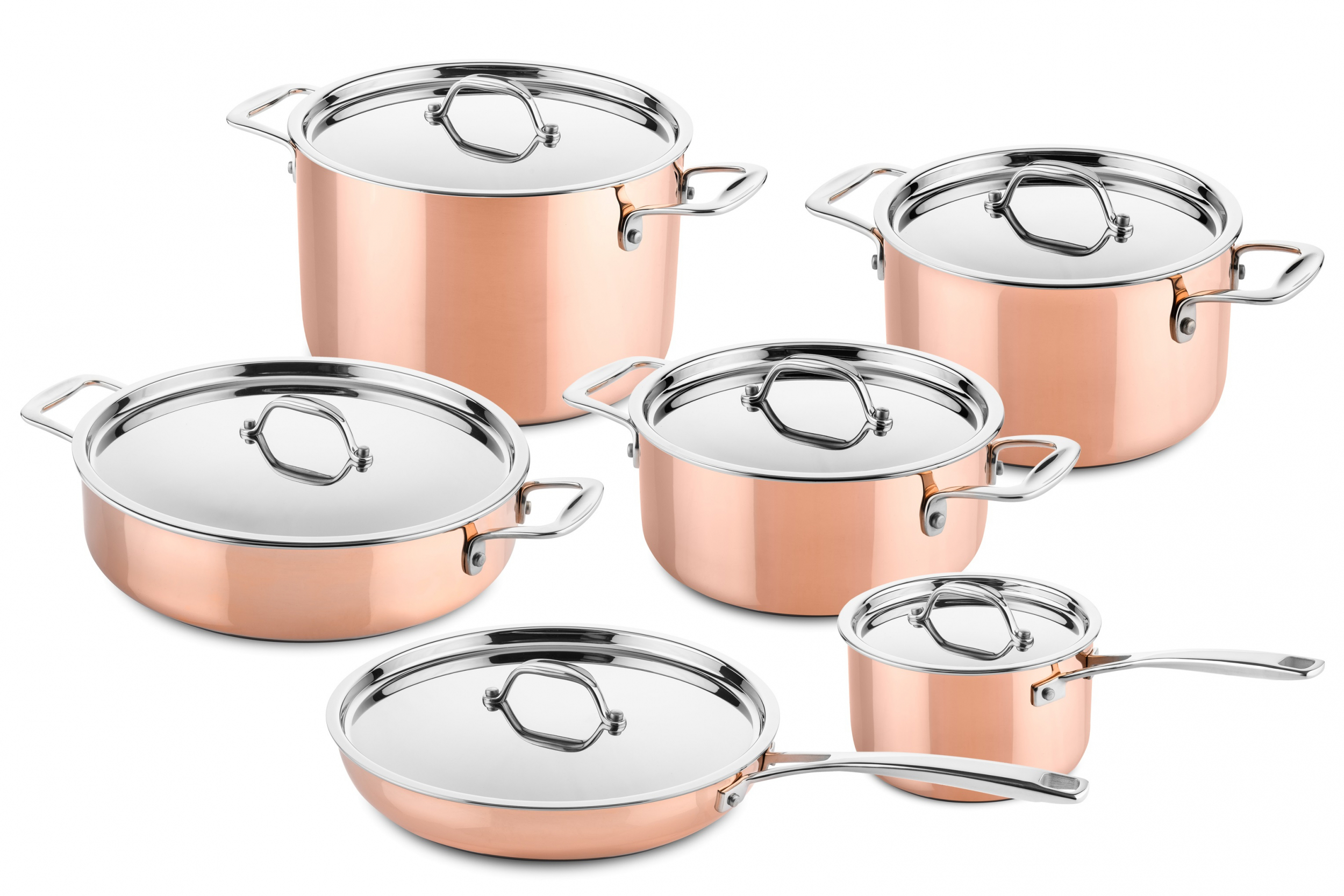 6 Pcs Copper Cookware Set Suitable For Induction Ducq