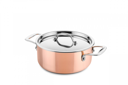 Copper casserole Ø20cm (suitable for induction)